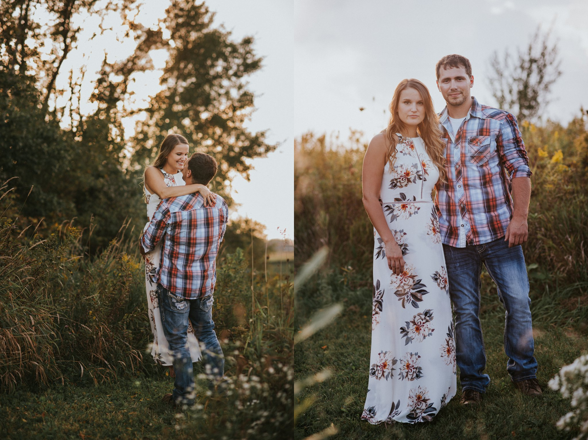 Midwest sunset engagement